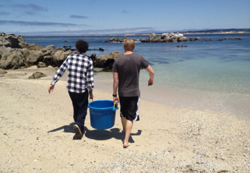Students carrying cooler on beach